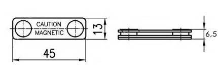 Магнитный держатель для бейджика 45х13мм (пластик)