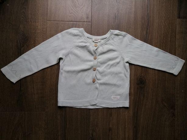 Pistacjowy, miętowy sweterek na guziki, Newbie, rozmiar 86