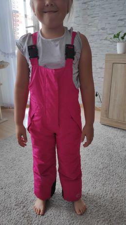 110 116 spodnie narciarskie różowe  ciepłe zimowe na śnieg