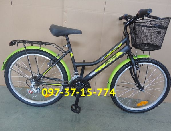 Городской Велосипед Mustang Sport 26*162 Черно Зеленый Крылья Багажник