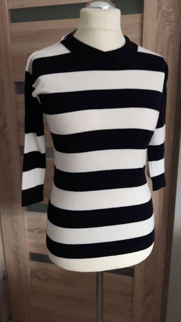 czarno biała bluzka z kołnierzykiem firmy Sisley XS,S NOWA