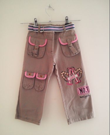 Calças de menina beges e rosa Tam.3 anos NOVAS