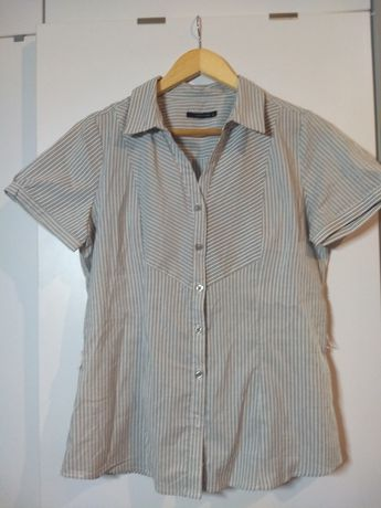Koszula w paski biało-szara, L, Carry 40