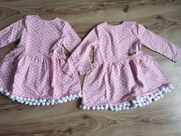 Nowe! Sukienki bliźniaczki Small Design 122cm