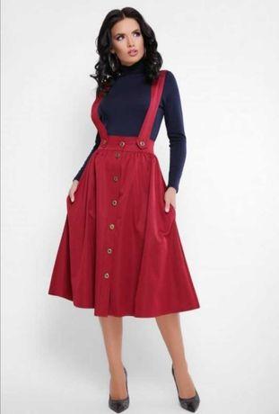 Новие фирменные юбки с подтяжками и карманами 46 рр