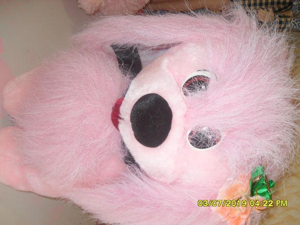 Большая розовая собачка для девочки.