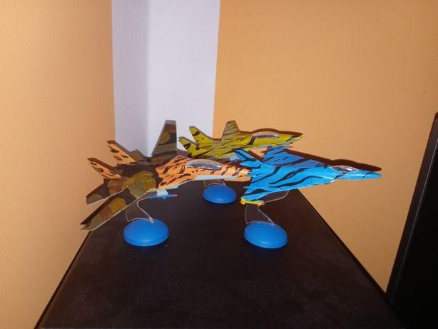 Model samolot statuetka 3 szt F16 F14