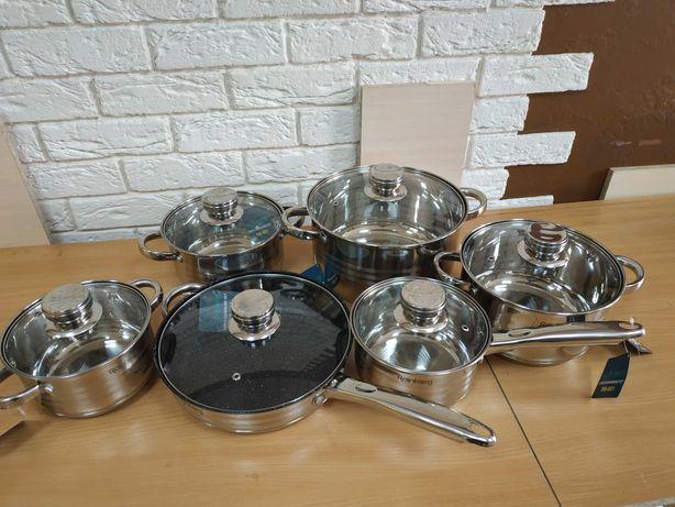 Набор кастрюль Rainberg со сковородкой, для всех плит на 12 предметов