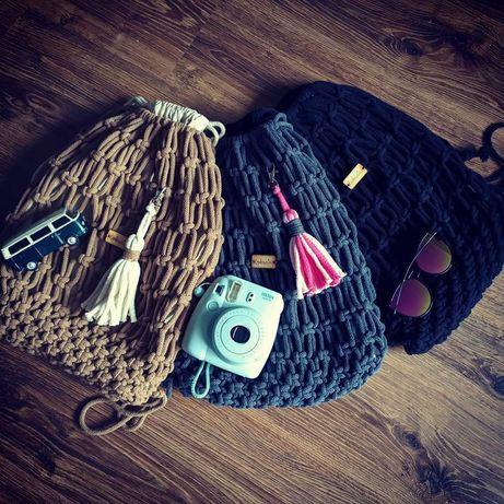 Plecak worek handmade makrama macrama backpack rękodzieło
