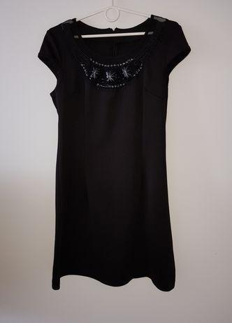 Włoska czarna tunika / sukienka z ozdobną siateczką i z kamyczkami