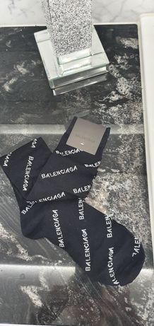 Skarpetki Balenciaga czarne długie logowane uniwersalne nowe