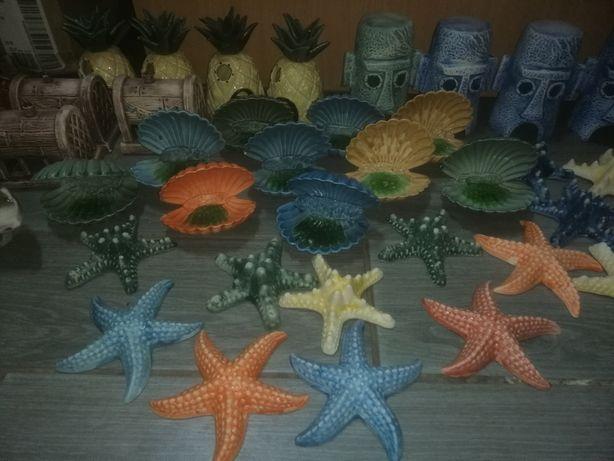 Керамические декорации для аквариум, устрицы, звезды, и многое другое