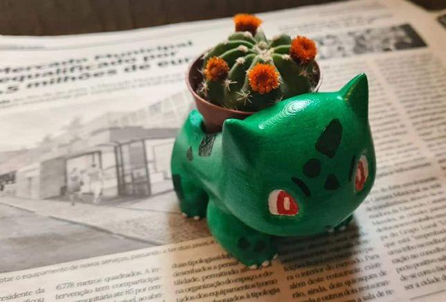 Vaso do Pokemon Bulbasaur - pintado à mão - com ou sem cato (novo)