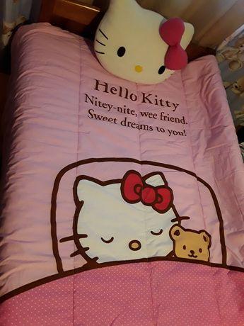 Edredon solteiro,almofada e 2 Hello Kitty