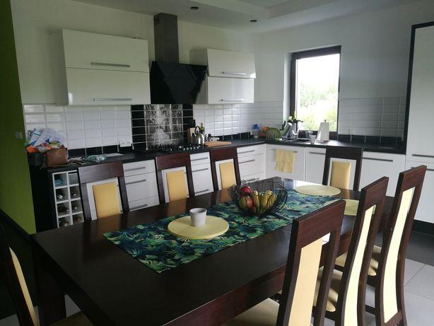 Stół dębowy 120x210 (250) + 8 krzeseł