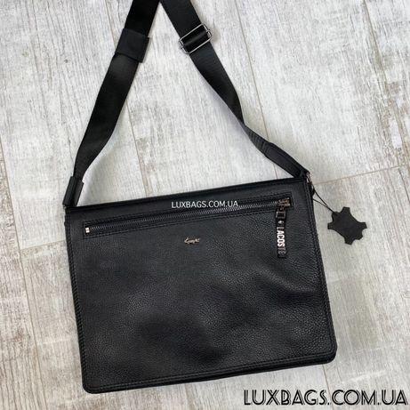 Мужская кожаная сумка Lacoste формата А4