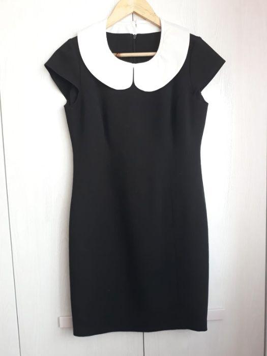 Czarna sukienka z odpinanym kołnierzykiem, r. XS/S