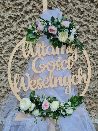 Koła Witamy Gości Weselnych + sztaluga w kolorze różowym i niebieskim