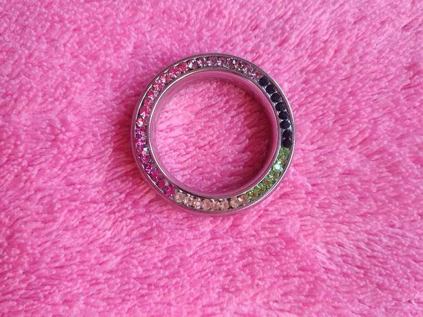 NOWY pierścionek - obrączka z kolorowymi cyrkoniami w stylu Tous.