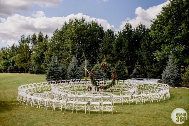 Krzesła Biały Dywan Stoły Namiot Ślub Wesele Plener Katowice Śląsk