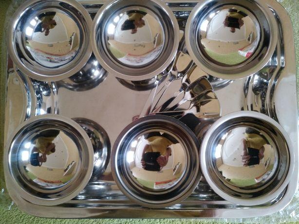 креманки, ложечки, поднос (набор из нержавейки)
