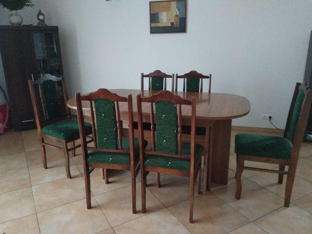 Stół rozkladany i 6 krzeseł