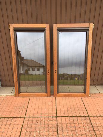 Skrzydła okienne 2 szt drewniane Urzędowski dwuszybowe machoń metenti
