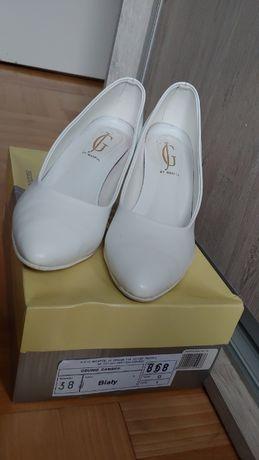 Skórzane buty ślubne białe r. 38 szpilki