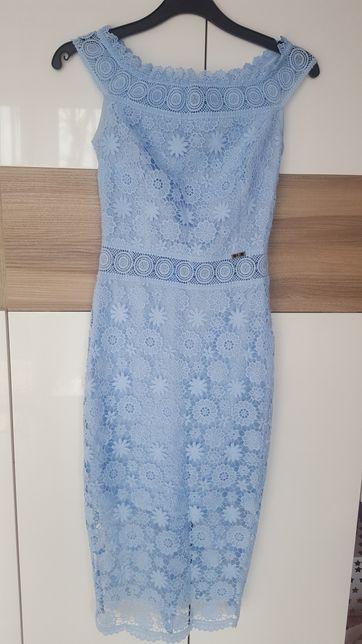 Sukienka XS błękitna koronka