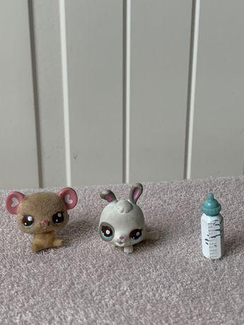 Littlest Pet Shop LPS małe królik miś baby z futerkiem