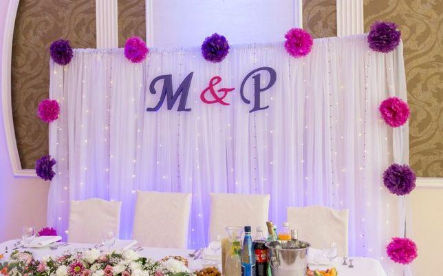 Litery inicjały ślubne M & P