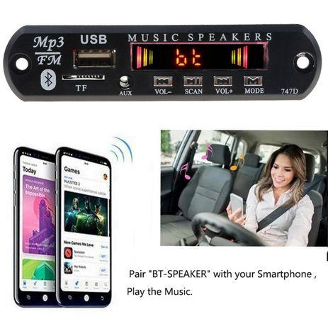 Модуль MP3,МП3 декодер 5;12в, Bluetooth USB, TF, microSD, AUX,FM