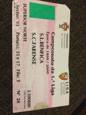 Bilhete Benfica vs Farense 99/00