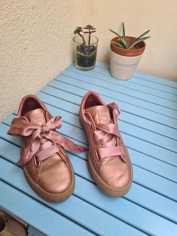 Puma adidasy buty Basket heart różowo złote metaliczne 40