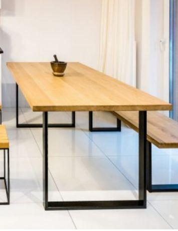 stół loftowy dębowy 150x80 - drewniany blat