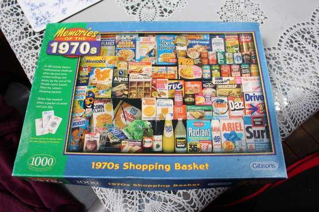 puzzle 1000 Gibsons koszyk produktów z lat 70 tych 70s shopping basket