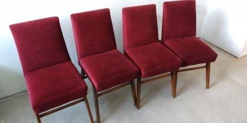 Krzesła PRL welur bordowe