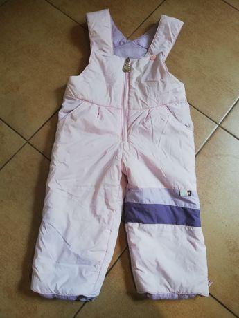 Zimowe spodnie na szelkach dla dziewczynki rozmiar 92cm