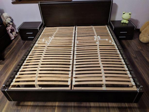 łóżko 160x200 ze stelażami + szafki nocne wenge