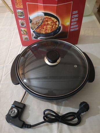 Grelhador elétrico e pizza pan
