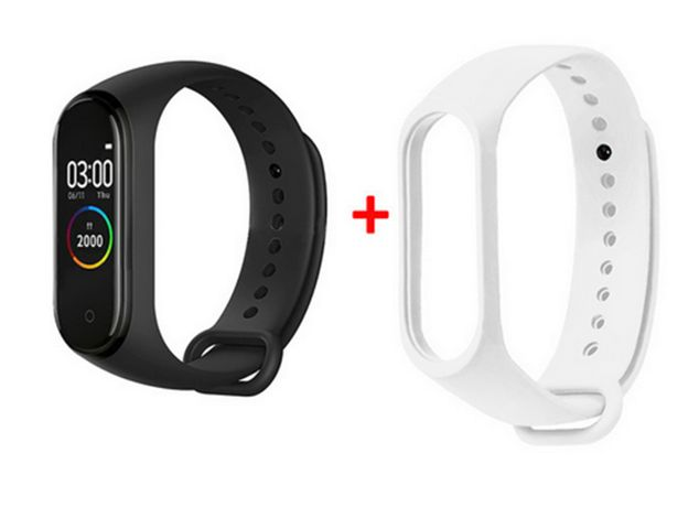 M4+ SMARTBAND SMARTWATCH do Samsung Iphone iOS opaska czarna + biała