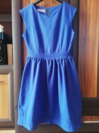 Granatowa rozkloszowana sukienka Ant'all rozmiar 34/XS