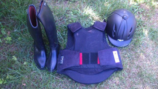 Equi Theme beta 2000 strój jeździecki oficerki kask kamizelka
