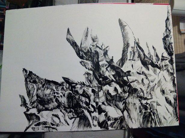 Desenho original pintura Paisagem Imaginária tinta-da-china e cana
