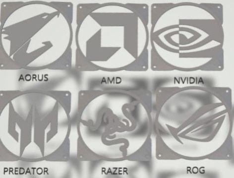 Grelhas personalizadas p/ ventoinhas | Logos ROG MSI ASUS RAZER...