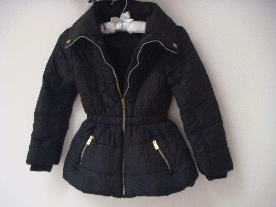 czarna pikowana długa kurtka / płaszczyk dla dziewczynki 7/8 lat Świdnik - image 1