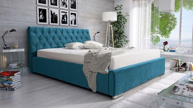 Łóżko tapicerowane Glamour 160/200 POJEMNIK + STELAŻ różne wymiary