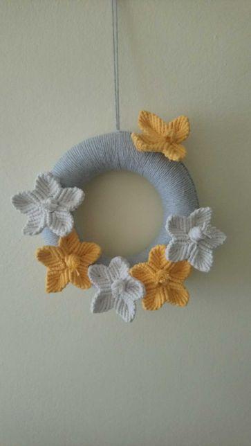 Makrama wianek kwiaty motyl. Wielkanoc. Handmade