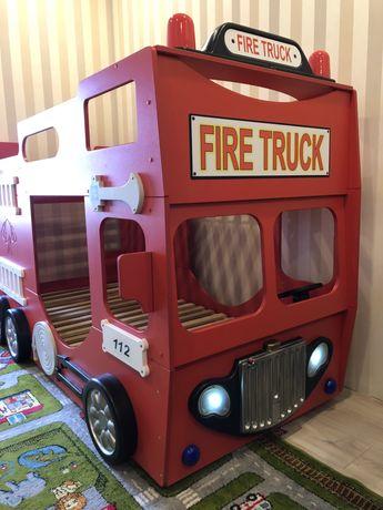 Двухъярусная кровать-машинка с матрасом Пожарная машина Детская 90x19