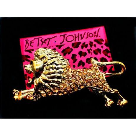 Милая золотистая брошка брошь в виде льва с большой гривой в прыжке